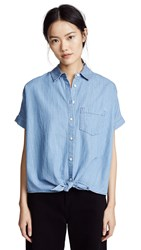 Madewell Chambray Tie Front Shirt Hillford Wash