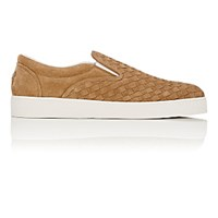 Bottega Veneta Men's Intrecciato Slip On Sneakers Tan