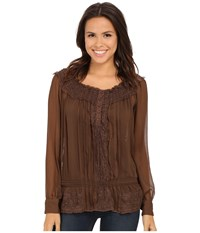 Roper 0136 Poly Chiffon Peasant Blouse Brown Women's Blouse