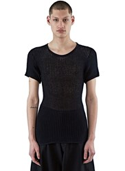 Black Kyoto Nana Mesh Knit T Shirt Black