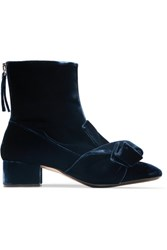 N 21 No. Knotted Velvet Ankle Boots Navy Usd