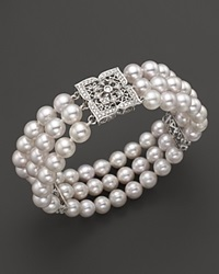 Bloomingdale's Cultured Freshwater Pearl And Diamond Bracelet In 14 Kt. Gold 6.5 7 Mm No Color
