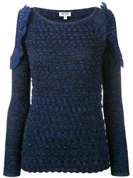Kenzo Cut Out Sleeve Knitted Top Blue