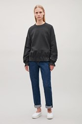 Cos Sweatshirt With Woven Frills Navy