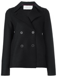 Harris Wharf London Double Breasted Short Pea Coat Blue