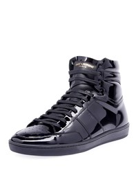 Saint Laurent Sl10h Patent Leather High Top Sneakers Black
