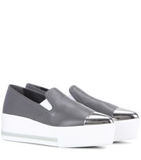 Miu Miu Leather Slip On Platform Sneakers Grey