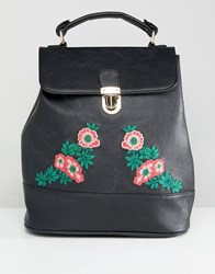 Liquorish Floral Embroidered Backpack Black