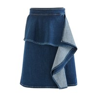 See By Chloe Frilled Denim Skirt Ink Marine