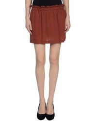 M.Grifoni Denim Mini Skirts Brick Red