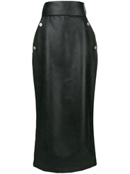 Sara Battaglia Midi Straight Skirt Black
