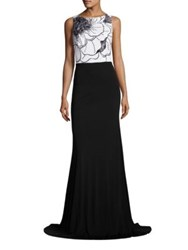 David Meister Beaded Colorblock Gown Black White