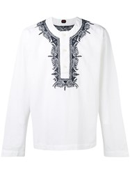 Massimo Piombo Mp Embroidered Trim Buttoned Tunic White