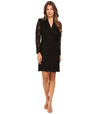 The Kooples Jacket Style Wrap Around Dress In Lace Black