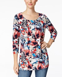 Charter Club Floral Print Crew Neck Top Only At Macy's Coral Bloom Combo