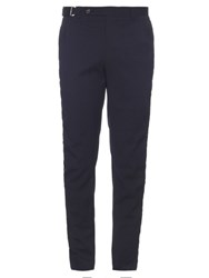 Wooyoungmi Wool Blend Seersucker Slim Leg Trousers Navy