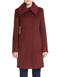 Jones New York Fold Over Collar Wool Blend Coat Burgundy