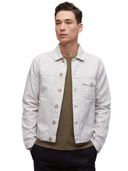 Jigsaw Linen Cotton Herringbone Trucker Jacket Oyster