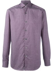 Ermenegildo Zegna Floral Diamond Pattern Shirt Pink And Purple
