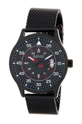 August Steiner Men's Quartz Steel Mesh Bracelet Watch Black