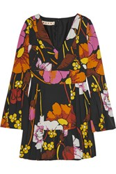 Marni Pleated Floral Print Crepe Mini Dress Black