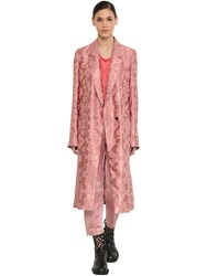 Ann Demeulemeester Double Breasted Satin Jacquard Coat Pink