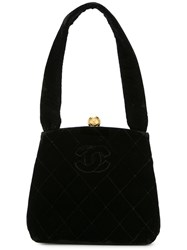 Chanel Vintage Quilted Cc Hand Bag Black