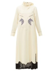 Toga Tie Neck Embroidered Lace Trim Dress Ivory