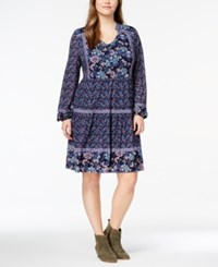 Style And Co Plus Size Printed Peasant Dress Created For Macy's Gypsy Trav Blue