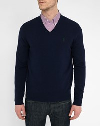 Polo Ralph Lauren Navy Lambswool V Neck Sweater Blue