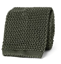 Tom Ford 8Cm Knitted Silk Tie Army Green
