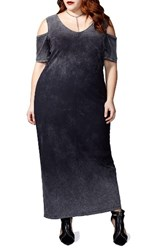 Mblm By Tess Holliday Plus Size Women's Holiday Acid Wash Cold Shoulder Maxi Dress