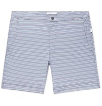 Onia Calder Long Length Striped Stretch Seersucker Swim Shorts Blue