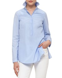 Akris Punto Pleated Back Half Button Blouse Light Blue Light Denim