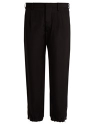 Marni Twill Tapered Cropped Leg Trousers Black