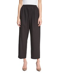 Eskandar Cropped Wide Leg Trousers Brown