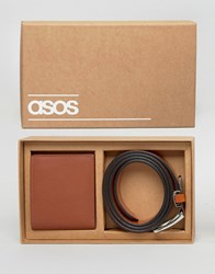 Asos Gift Set With Leather Wallet And Belt Tan