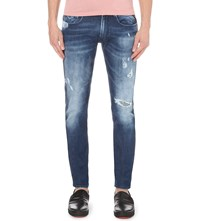 Replay Anbass Distressed Slim Fit Skinny Jeans Blue