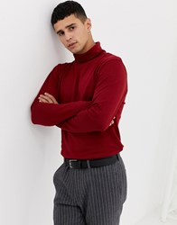 Selected Homme Roll Neck Long Sleeve Top Dried Tomato Red
