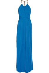 Emilio Pucci Chain Trimmed Pleated Stretch Jersey Gown Blue