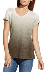 Women's Two By Vince Camuto Dip Dye Linen Tee Olive Earth