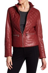 Kenneth Cole Stand Up Collar Quilted Jacket Red