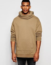 Asos Longline Oversized Hoodie With Funnel Neck And Hood In Camel Coco Brown