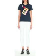Mini Cream Matches Print Cotton Jersey T Shirt Navy