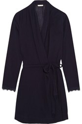 Skin Lace Trimmed Cotton Gauze Robe Midnight Blue
