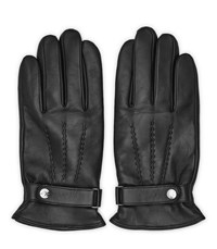 Reiss Foster Leather Button Gloves In Black