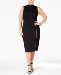 Love Squared Plus Size High Neck Zipper Bodycon Dress Black