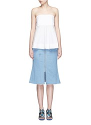 Nicholas Cascading Frill Bustier Top White