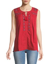 Chelsea And Theodore Embroidered Scoop Neck Peasant Tank