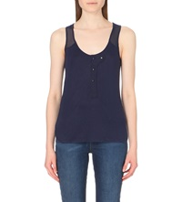 Karen Millen Sleeveless Cotton Jersey Top Navy